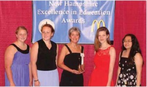 Springhorn (center) received the 2013 Christa McAuliffe Sabbatical at the New Hampshire Excellence in Education Awards in June. From left to right, she was accompanied by LHS students Audrey Swift, Hana Laramie, Meg Zuttermeister, and Chelsea Paige.