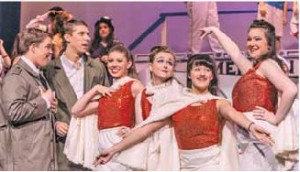 Upper Valley teens perform in NCCT's 20th annual teen show, Anything Goes. From left to right: Ben Bonner, Connor Greeley (LHS graduate), Elise Ballard (LHS), Alexandra Shworak, Rose Munsey-Kano (LHS), and Jaclyn Pageau (LHS).