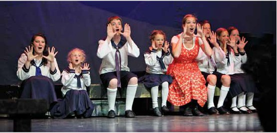 Recent Lebanon High School graduate Alleigh Whiteside, center, is Maria surrounded by the von Trapp family in the summer production of The Sound of Music.