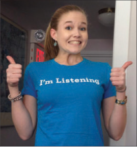 Jess Newkirk, WISE Program Advocate, reminding everyone that WISE listens and believes.