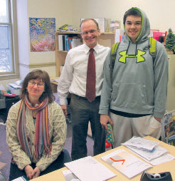 Lisa Swett, John Higgins, and student Jordan