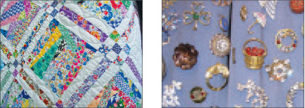 Quilt: A pieced quilt from 1930s flour sacks. The sacks were printed with different designs. In this quilt the only fabric that appears regularly are the small dark squares with white polka dots in the center of the 9-patch blocks. Pins: Adele also collects and displays ornamental pins. Adele with quiltwork: Adele Patch, wearing one of the applique sweatshirts she makes and sells, shows off one of her quilts.