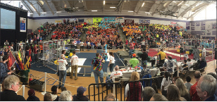The three teams making up the winning alliance from Nashua. Teams 1519 and 1307 were The Grasshoppers partners. The Drive Team for Team 95 consisted of the four in the middle and are Grayson Daly, Max Porter, Sawyer Blais, and James Cole-Henry, the coach.