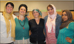 Lebanon resident Kelley Gage (left) and colleagues at the mosque