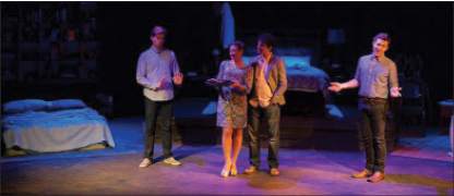 Clint Carter, Erin Kukla, Eric Love and Stuart Williams in Gatherwool's premiere of Songs From an Unmade Bed
