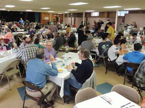 More than 275 people dined in the Sacred Heart Church's hall last Thanksgiving Day