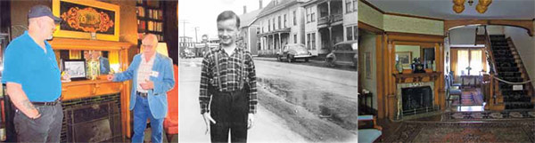 Ed with his brothers in the 1940s; David Pardoe taking the tour with Ed Ashey; Ed as a youngster on the town; the Marion Carter House, view from the main entrance.