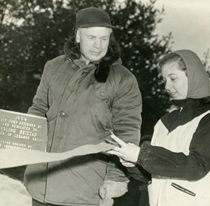 Erling Heistad at the dedication of the Heistad Hill in 1954; plaque now mounted on the front of the takeoff