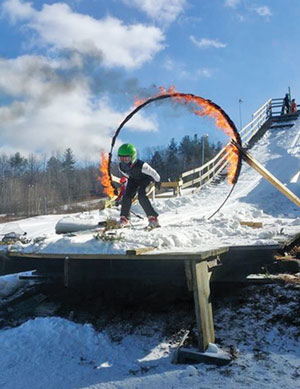 The Ring of Fire is the closing of the jumping program, typically the last scheduled competition for the year. All participants are welcome to ski through the ring of fire at the end of the event.